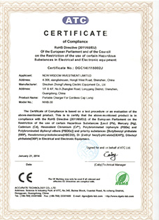 Certificate: The European CE certification, product: WISDOM brand NWB-30 portable charger for miner's cap lamp