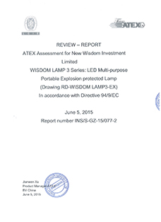Report: The European ATEX certification from BV, product: WISDOM brand Lamp 3 series all in one multi purpose headlamps