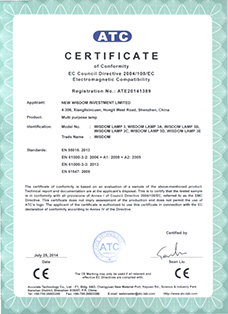 Certificate: The European CE certification, product: WISDOM brand Lamp 3A, 3B, 3C, 3D, 3E all in one multi purpose headlamps