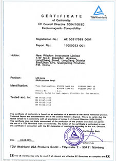 Certificate: The European CE certification from TUV, product: WISDOM brand Lamp 4A, 4B, 4C, 4D all in one multi purpose headlamps