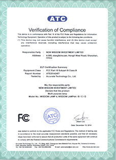 Certificate: The American FCC certification, product: WISDOM brand Lamp 4A, 4B, 4C, 4D all in one multi purpose headlamps