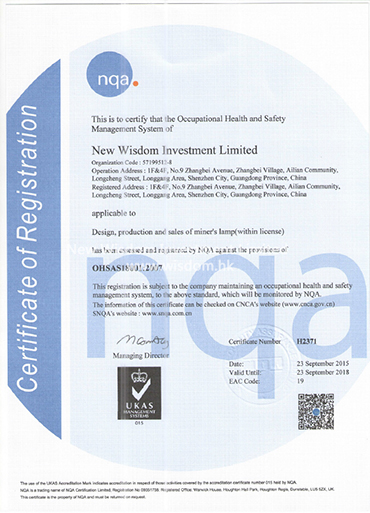 WISDOM OHSAS18001 occupation health and safety management system certificate