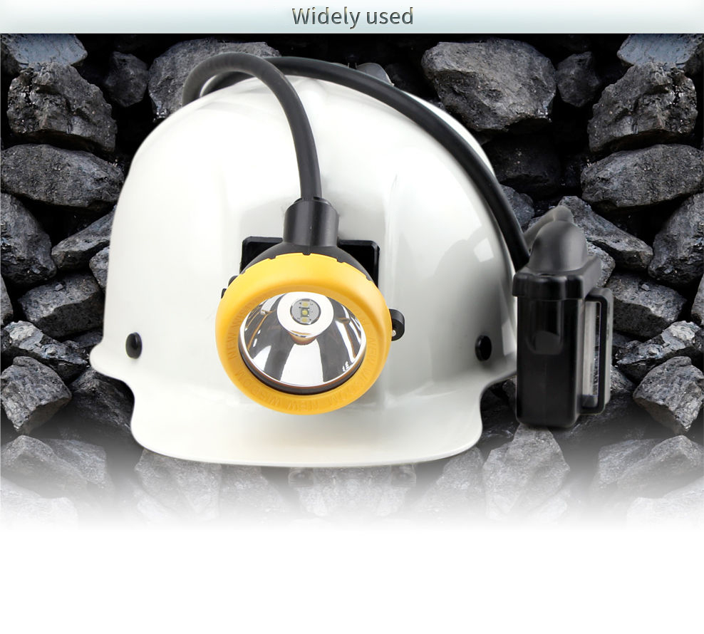 Professional LED miner's cap lamp, brightness of 13000 lux, 13 hours working time (Standard version). Safe, reliable, long life span of 100000 h. IP68 diving certificated.