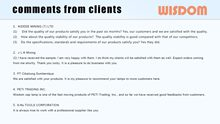 WISDOM Slide: Comments From Customer